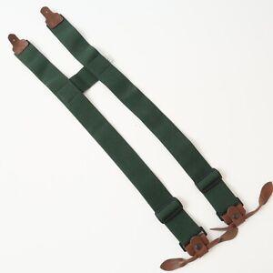 ORVIS Wader Suspender H-Back Design Green Leather Accents Mens Vintage
