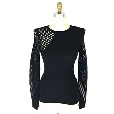 Opening Ceremony Black Intarsia Perforated Sweater Womens Size XS Long Sleeves