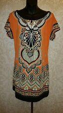YVOS Orange, Black, White Tribal Print Beaded Dress Sz S #2062