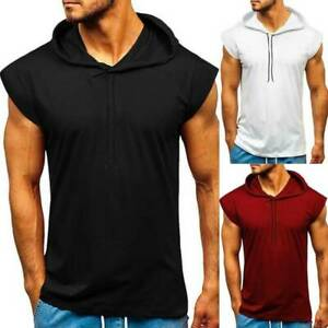 Mens Cap Sleeve Hooded Vest Summer Casual Gym Sports Muscle Tops T-Shirt Blouse