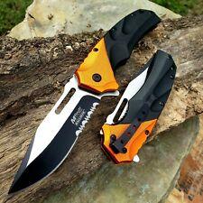 """8.5"""" Tactical Folding Pocket Knife Spring Assisted Open Black Orange Serrated"""