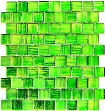 Mosaic tile Square green mix clear/frosted with glass - Art: 78-CF83 | 10 sheet