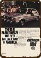 1981 VOLKSWAGEN RABBIT DIESEL CAR Vintage Look REPLICA METAL SIGN - VW RABBIT
