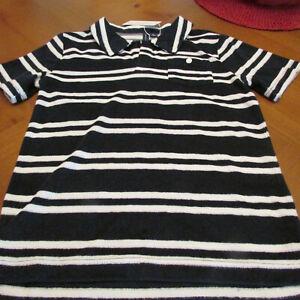 Janie and Jack Polo Shirt,NWT,Sz 10,Black/white stripe