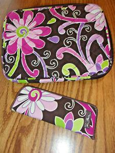 VERA BRADLEY PURSE Purple Punch Pattern iPAD BAG & EYEGLASS Case POUCH 2 Pcs