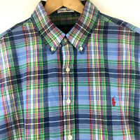 Ralph Lauren Mens Short Sleeve Authentic Indian Madras Blue Plaid Woven Shirt
