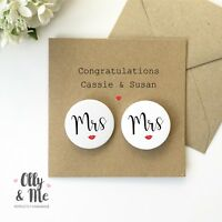 Personalised Congratulations Lesbian Wedding Day Couple Card & Mrs & Mrs Badge