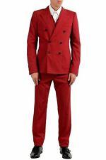 Dolce & Gabbana Men's Wool Silk Red Three Piece Suit US 40 IT 50