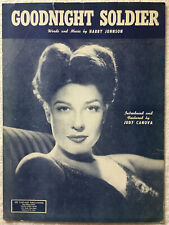 Goodnight Soldier 1943 Vintage Sheet Music Featured By Judy Canova RARE