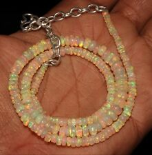 """47 Carat 16"""" 3 to 6 mm Natural Ethiopian Welo Fire Opal Beads Necklace -S6034"""