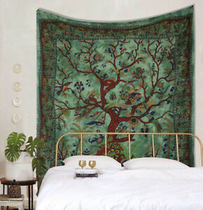 Green Floral Tree of Life Tapestry Wall Hanging Art Deco Cover Bed Boho Sheet UK