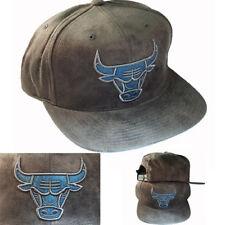 Mitchell & Ness NBA Chicago Bulls Snapback Hat Grey Suede Blue Bulls symbol Cap