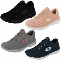 LADIES SKECHERS QUICK LAPSE 12985 SLIP ON LACE MEMORY FOAM MESH SPORTS TRAINERS