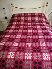 More details for raspberry reversible tapastry welsh wool fringed blanket in good condition