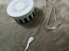 RARE THOMAS SABO GLAM & SOUL SILVER ANGEL FEATHER WING PENDANT & TS CHAIN BOXED