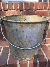 """Vintage Metal Pail Bucket Large 12"""" Diameter Stamped LAWCO"""