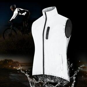 Radfahren Weste Reflektierende Full Zip Wasserdicht Atmungsaktiv Nacht Reiten