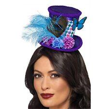 Mad Hatter Mini Feather Hat Purple on Headband