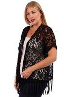 Women's Plus Size Cover-up Bohemian Soft Knit Lace Fringed Hem Kimono Cardigan