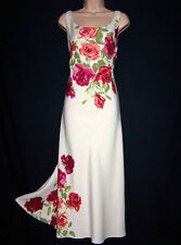 Laura Ashley Vintage Poster Printed Linen & Silk Full Length Lined Dress UK12
