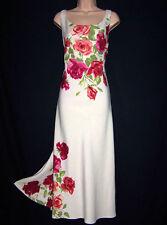 Laura Ashley Vintage Poster Style Print Linen Silk Occasion Full Length Dress 12