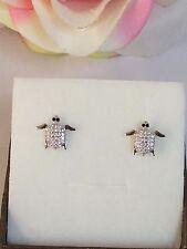 orecchini donna argento 925 anallergico rodiato forma di tartaruga zirconi