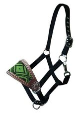 Showman Leather Bronc Halter w/ LIME GREEN Beaded Navajo Design!! NEW HORSE TACK