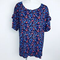Verve Ami Floral Blue Multi Women Blouse. Size 1X. New With Tags