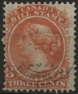 Canada VanDam #FB20 3c red bill stamp of 1865 used, faults, perf 12
