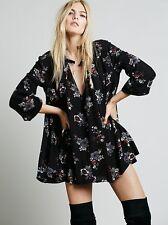 NWT Free People Tree Swing Retro Floral Print Tunic Dress Black Raven XS Rare