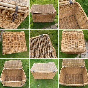 🌟Huge Antique Wicker Laundry Basket Travel Trunk Chest Hamper Rustic Country