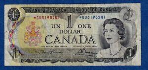Canada $1 (1973) Replacement Banknote - Circulated - Prefix *GU3195241 ✹CR0002✹