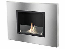 Ignis Ventless Recessed Ethanol Fireplace Quadra with Front Glass Barrier