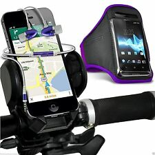 Quality Bike Bicycle Holder+Sports Armband Case Cover+In Ear Headphones✔Purple