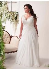 UK Chiffon White/Ivory Reg/Plus Sz Appliqué Wedding Dress Bridal Gown Size 8-26W