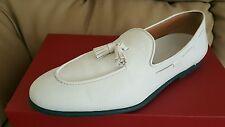 RARE🔥 Salvatore Ferragamo RIVA Men's Tassel White Leather Loafers Sz 10 - D