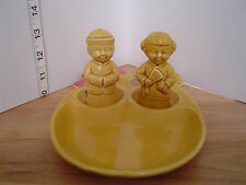 VINTAGE THREE PIECE CHINESE COUPLE SALT & PEPPER SET