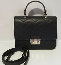 FURLA Bella Onyx Black Quilted Leather Top Handle Satchel Handbag  $498  NEW