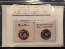 Set Of 2 Elvis Presley Colorized Statehood Quarters Mystic Stamp