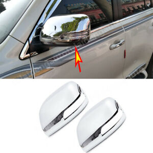 For Toyota Land Cruiser 2016-2021 ABS Triple Chrome Side Door Mirror Cover Trim