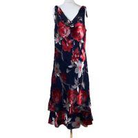 JACQUES VERT Ladies MAXI DRESS Red UK Size 16 Floral Silk Blend F3