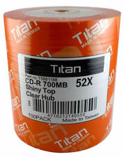 100 Titan Brand Duplication Grade 52X Shiny Silver Top Blank CD-R Disc 700MB