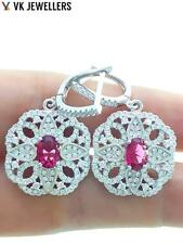 925 Sterling Silver White Gold Plated Turkish Jewelry Ruby Earrings R2712