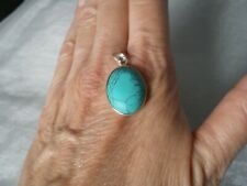 Blue Howlite oval pendant, approx. 6 carats, in 0.8 grams of 925 Sterling Silver
