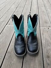 """WOMENS JUSTIN GYPSY BLACK LEATHER TURQUOISE 8"""" COWBOY WESTERN BOOTS 8.5 B"""
