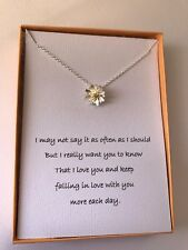 Silver Plated Simulated Flower Necklace/ love poem for your wife/girlfriend