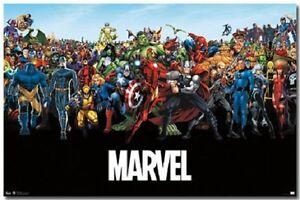 MARVEL LINE UP POSTER 34X22 NEW FREE SHIPPING HULK SPIDERMAN IRON MAN WOLVERINE