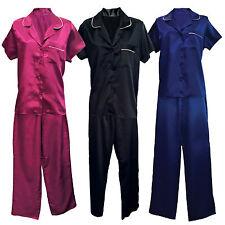 Ladies Luxury Short Sleeve Satin Night Shirt and Trousers Bottoms Pyjamas Set