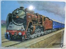 PLAQUE reproduction METAL SNCF LE TRAIN BLEU A VAPEUR illustré par MICKLEWRIGHT