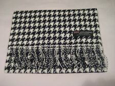 2 PLY 100% Cashmere WHITE BLACK HOUNDSTOOTH Scarf Made in Scotland Wool Men